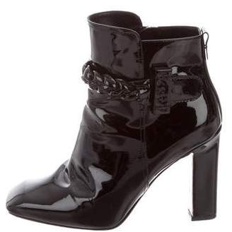Valentino Patent Leather Round-Toe Ankle Boots