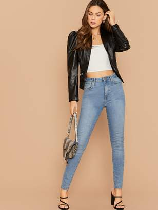 Shein Zip Detail Gigot Sleeve PU Leather Jacket