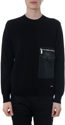 DSQUARED2 Black Wide Pocket Pullover In Wool