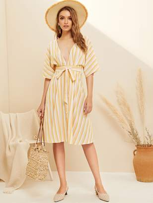 ca7243de0473 Shein Deep V-neck Button Front Striped Belted Dress
