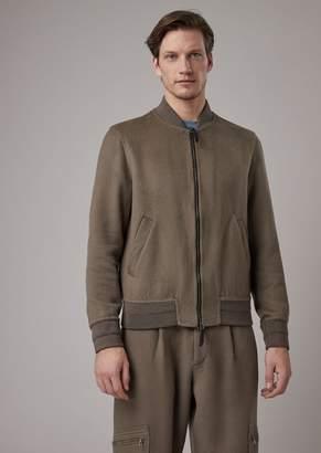 Giorgio Armani Double Garment-Washed Cloth Bomber Jacket
