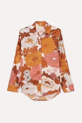 Dodo Bar Or Noemie Floral-print Silk-jacquard Shirt - Camel