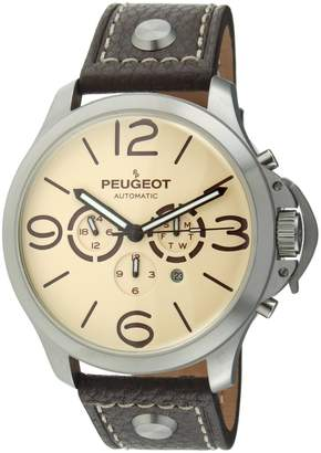Peugeot Automatic MK912TBR Men's Silver Stainless Steel Multifunction Brown Leather Watch