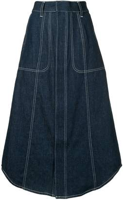 G.V.G.V. contrast stitch denim skirt