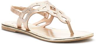 Candies Candie's Women's Rhinestone Perforated Slingback Thong Sandals