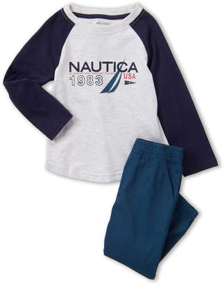 Nautica Toddler Boys) Two-Piece Long Sleeve Graphic Tee & Joggers Set