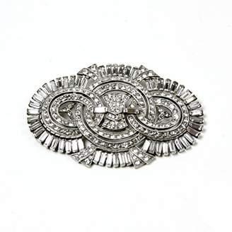 Ben-Amun Jewelry Crystal Deco Fan Pin Brooch for Bridal Wedding Anniversary