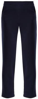 Allude Slit Hem Wool Trousers - Womens - Navy