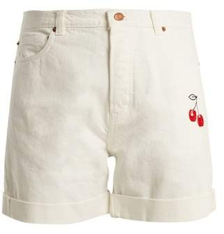 Bliss And Mischief - Cherry Embroidered High Rise Denim Shorts - Womens - Ivory