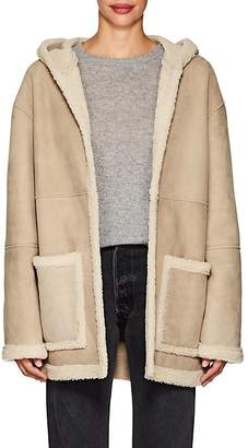 Robert Rodriguez WOMEN'S SHEARLING-LINED HOODED SUEDE COAT