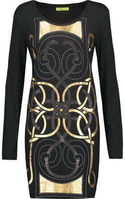 Versace Jeans Embellished Printed Stretch-Jersey Mini Dress $255 thestylecure.com