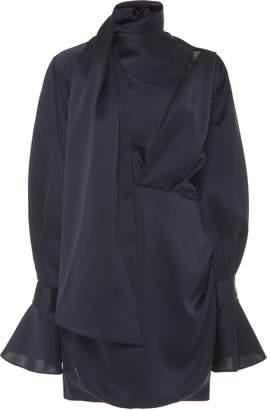 Acler Soto Tie-Neck Tucked Mini Dress