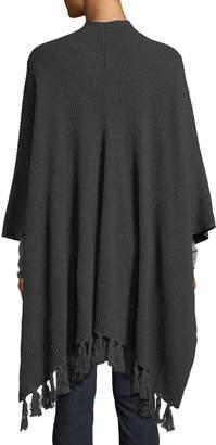 Neiman Marcus Knit Wrap w/Fringe Trim