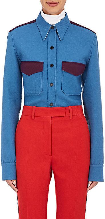 CALVIN KLEIN 205W39NYC Women's Colorblocked Wool Twill Shirt
