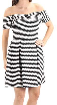 GUESS Women's Off The Shoulder Fit and Flare Stripe Dress