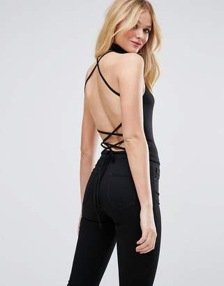 Asos DESIGN Halter Top with Choker Neck & Strappy Lace Up Back