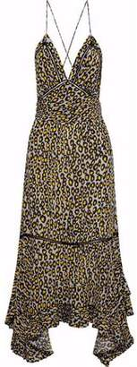 Derek Lam Open-Back Pleated Leopard-Print Silk Crepe De Chine Midi Dress
