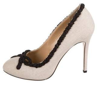Charlotte Olympia Canvas Round-Toe Pumps