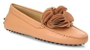 Tod's Gommini Flower Leather Drivers $645 thestylecure.com