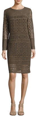 Nic+Zoe Long-Sleeve Lacy Knit Sheath Dress