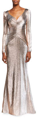 Theia V-Neck Long-Sleeve Lame Mermaid Gown w/ Shirred Bodice