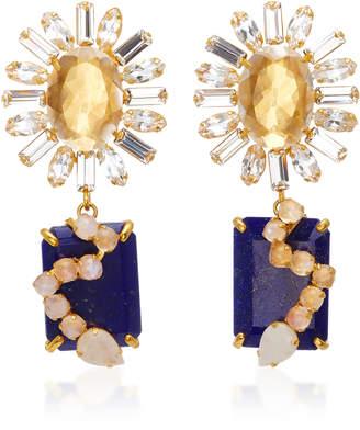 """Bounkit 14K Gold-Plated Brass Quartz"""" Lapis and Moonstone Earrings"""