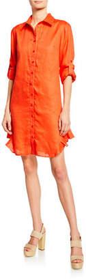 Finley Agetha Button-Down Long-Sleeve Linen Shirtdress