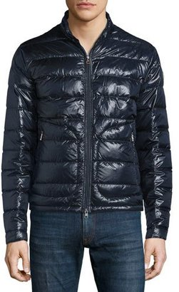 Moncler Acorus Zip-Up Puffer Jacket, Navy $745 thestylecure.com