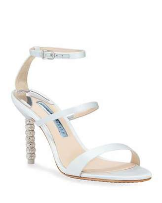 Sophia Webster Rosalind Mid-Heel Satin Crystal Bridal Sandals