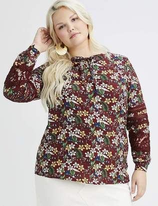 Lea & Viola Wine Multi Floral Blouse Top Size 3X - 26/28 Polyester/Rayon