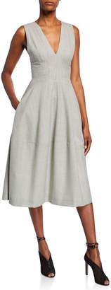 Narciso Rodriguez Grid Print Wool Twill Dress
