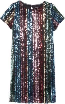 Trixxi Rainbow Sequin Stripe Dress