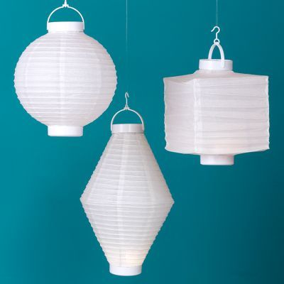 White Battery-Operated Lanterns Set of 3