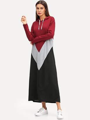 1e2f709e49 Shein Cut & Sew Hoodie Maxi Sweatshirt Dress