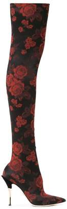 Dolce & Gabbana Rose-jacquard over-the-knee boots