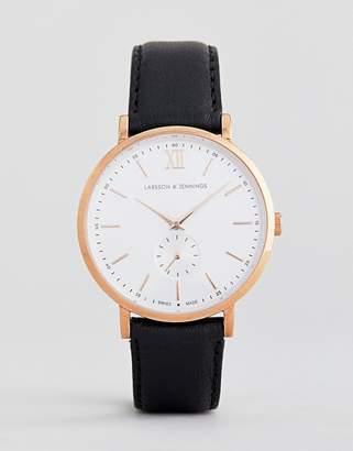 Larsson & Jennings Jura Leather Watch In Black 38mm