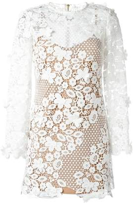 Self-Portrait floral motif see-through dress
