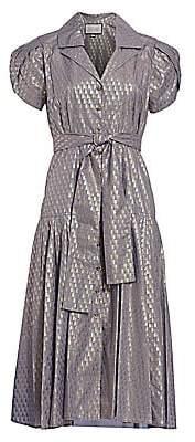 Alexis Women's Azure Metallic Print Midi Dress