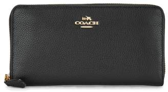 Coach Accordian Black Leather Wallet