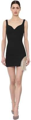 Area Wool Blend Mini Dress W/ Crystal Fringe