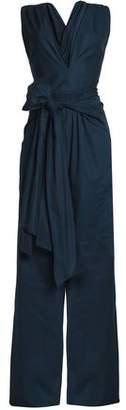 Tome Wrap-Effect Bow-Detailed Cotton-Faille Jumpsuit