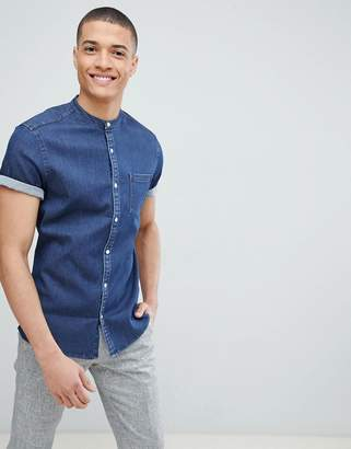 Asos DESIGN Stretch Slim Denim Shirt With Grandad Collar In Rinse Wash
