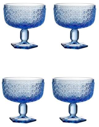 Jay Import Bistro Key Blue Pedestal Bowl - Set of 4
