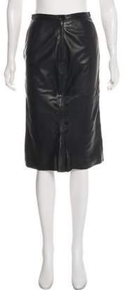 Valentino Knee-Length Leather Skirt