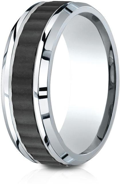 Benchmark Cobalt 8mm Comfort-Fit Beveled Edge Black Titanium Riveted Inlay Design Ring
