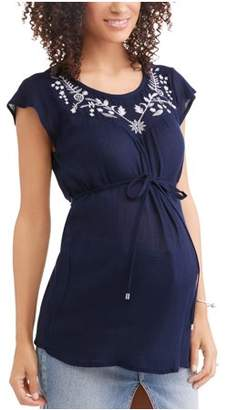 Oh! Mamma Maternity Embroidered Boat Neck Swing Tunic with Cap Sleeves--Available in Plus Size