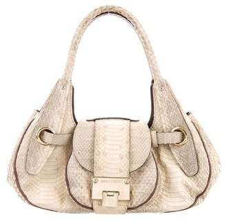 Jimmy Choo Leather-Timmed Snakeskin Tote