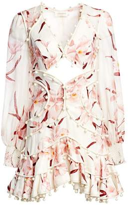 Zimmermann Corsage Linen Orchid Bauble Mini Dress
