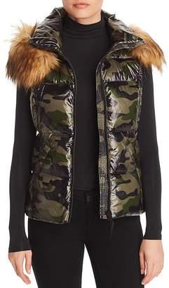 Aqua Faux Fur-Trim Camo Puffer Vest - 100% Exclusive
