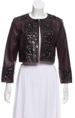 Oscar de la Renta Leather Embellished Jacket